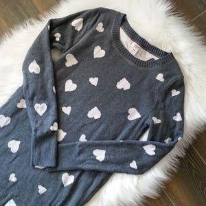 B2G1 Merona Gray & Pink Heart Sweater Dress